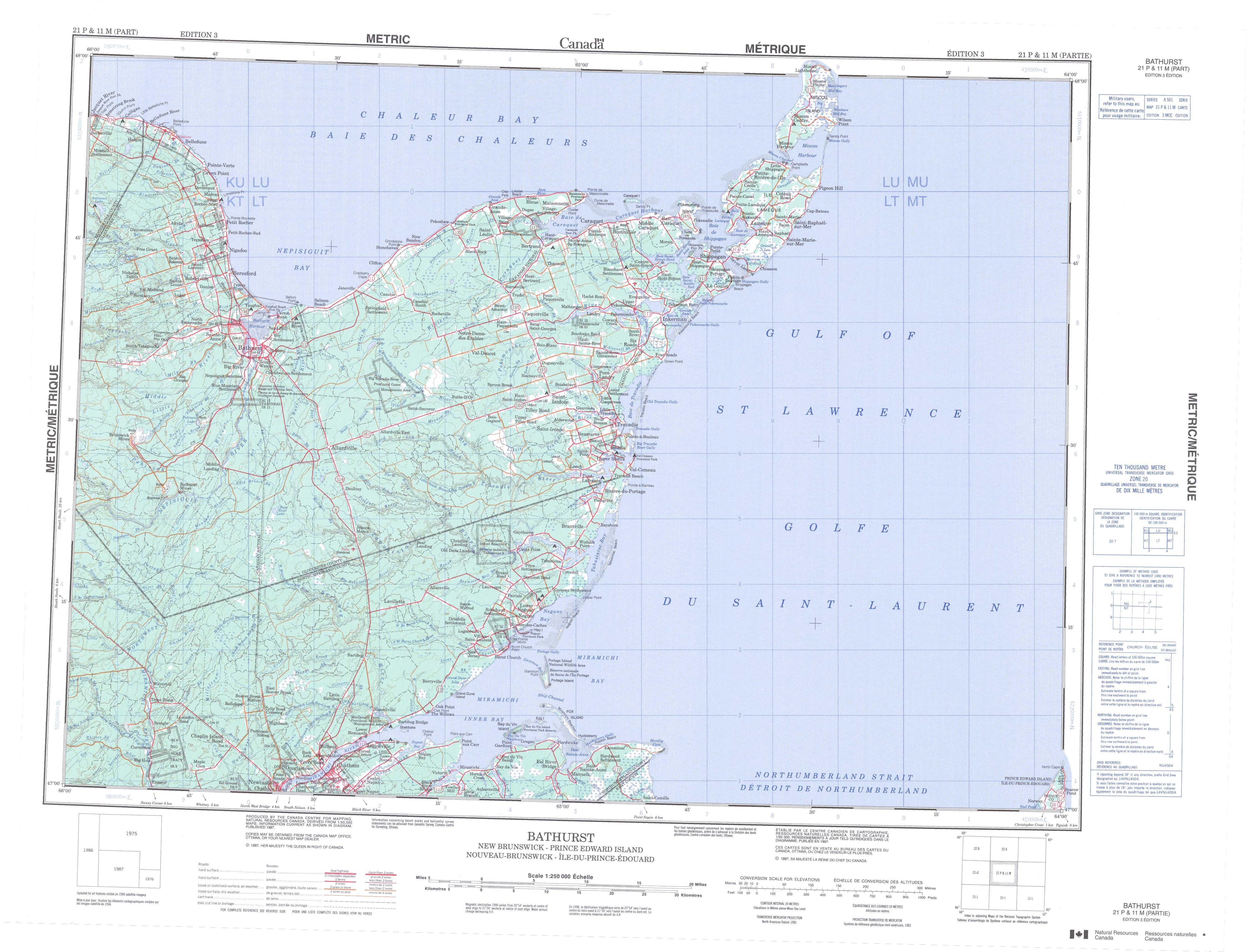 Printable Topographic Map of Bathurst 021P NB