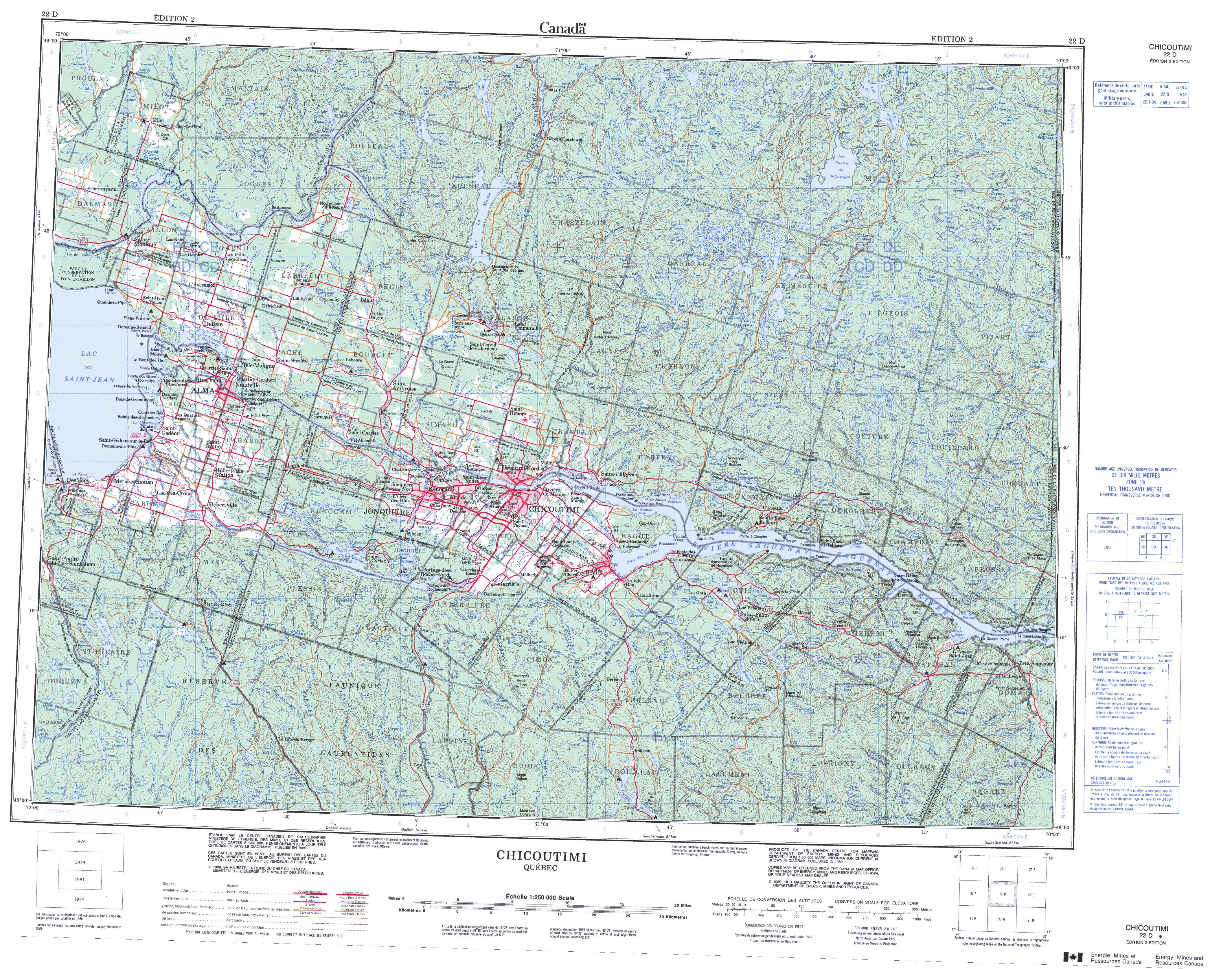 Printable Topographic Map of Chicoutimi 022D QC