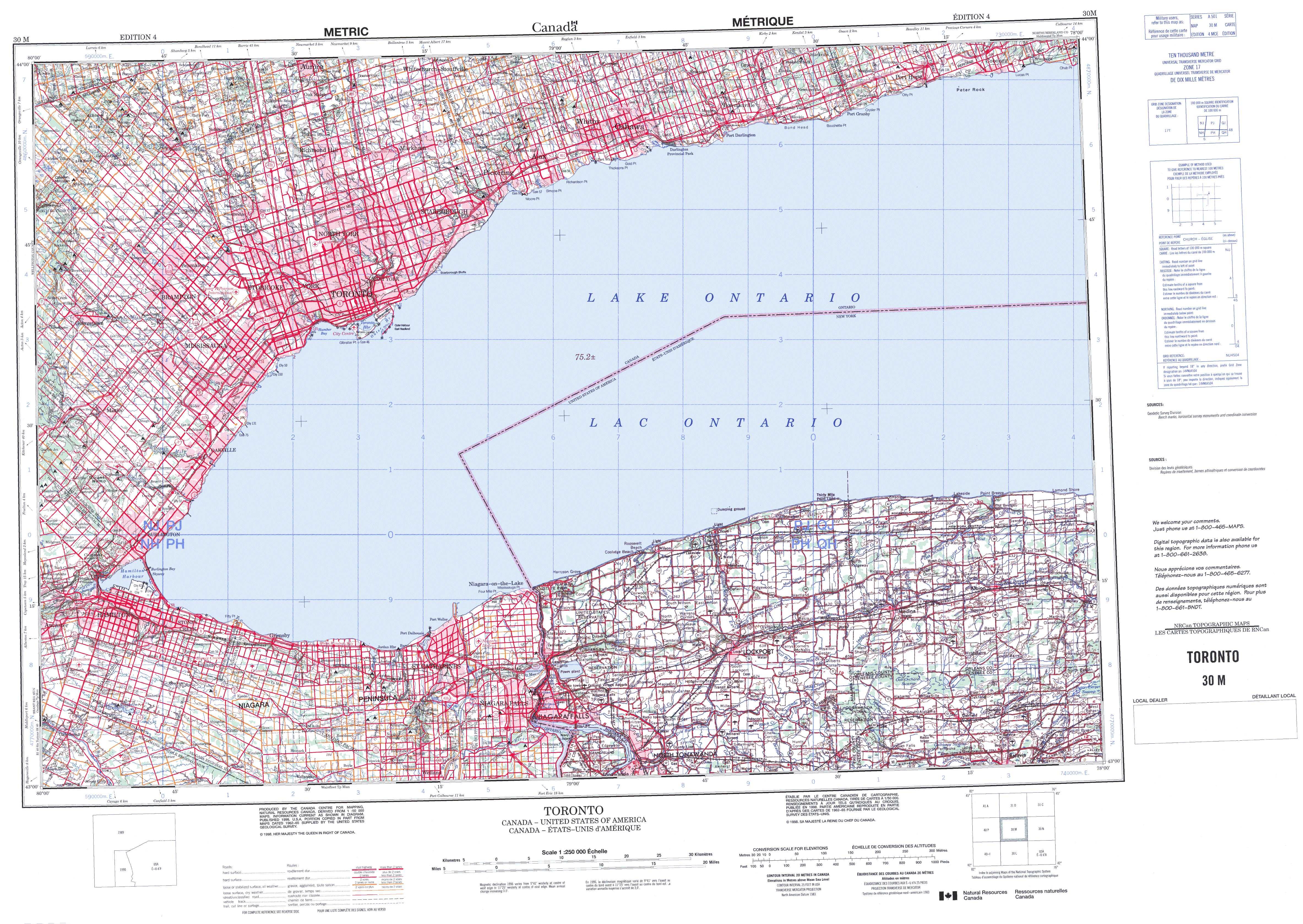 Printable Topographic Map Of Toronto M ON - Print topo maps