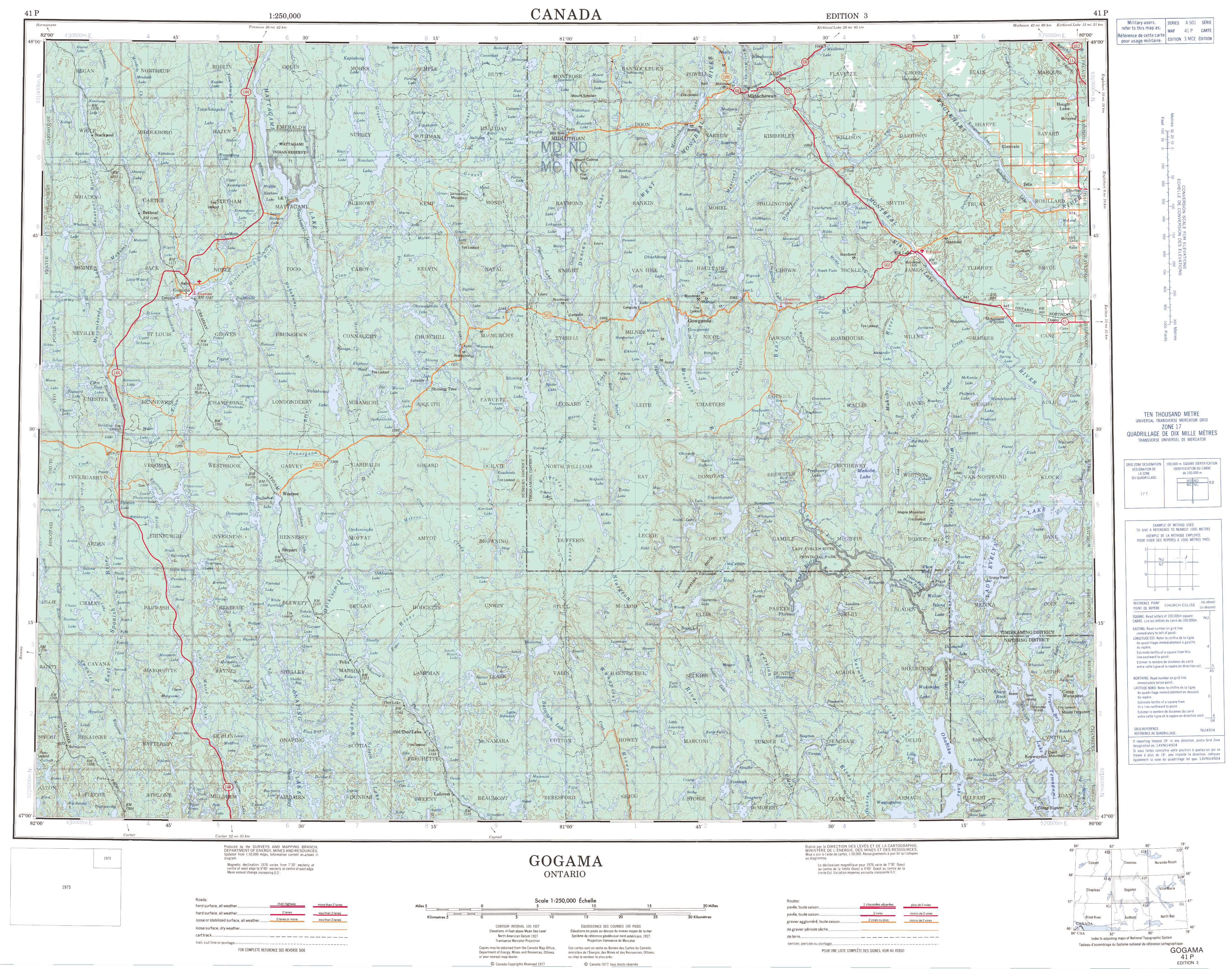 Printable Topographic Map of Gogama 041P, ON