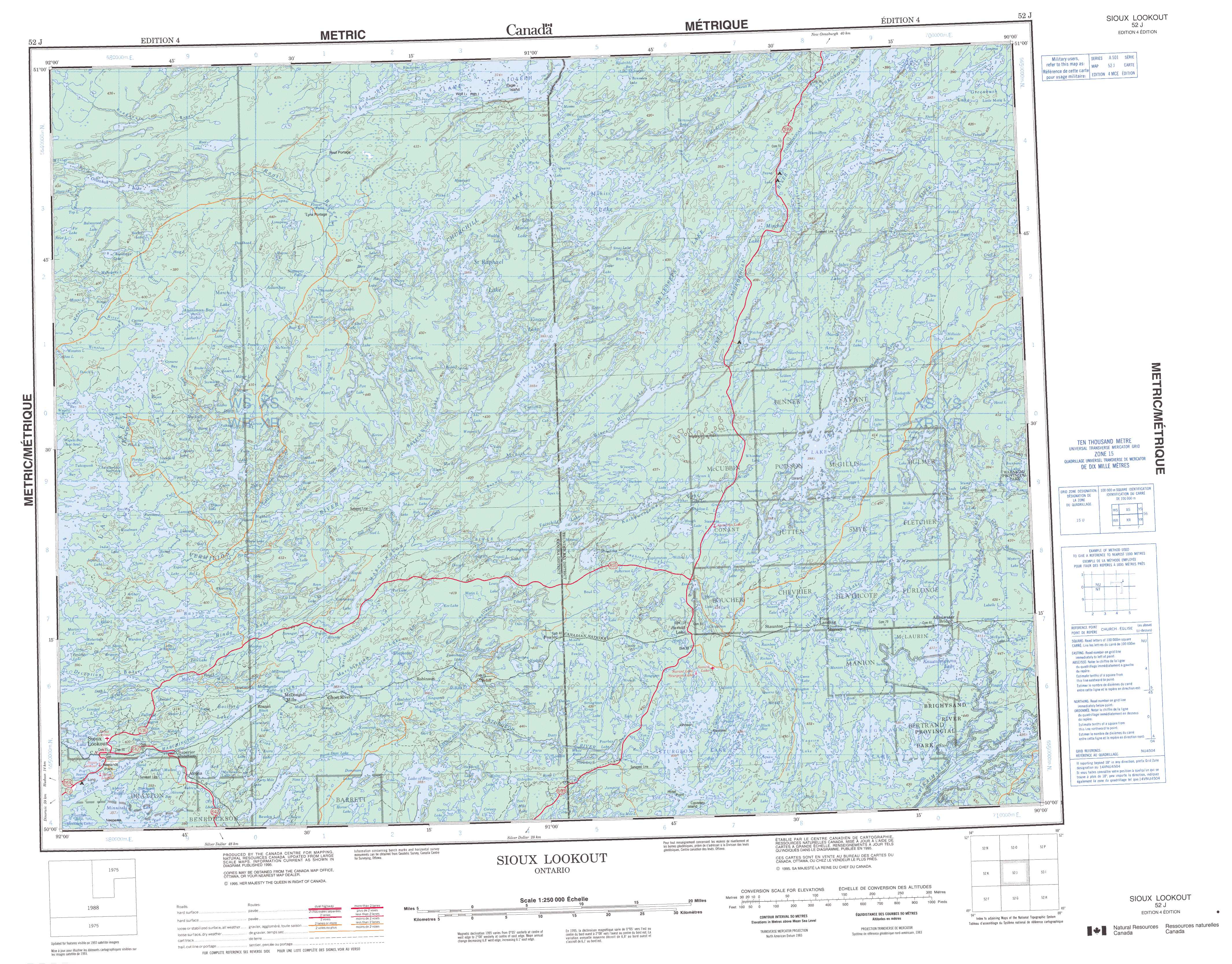 Printable Topographic Map of Sioux Lookout 052J, ON