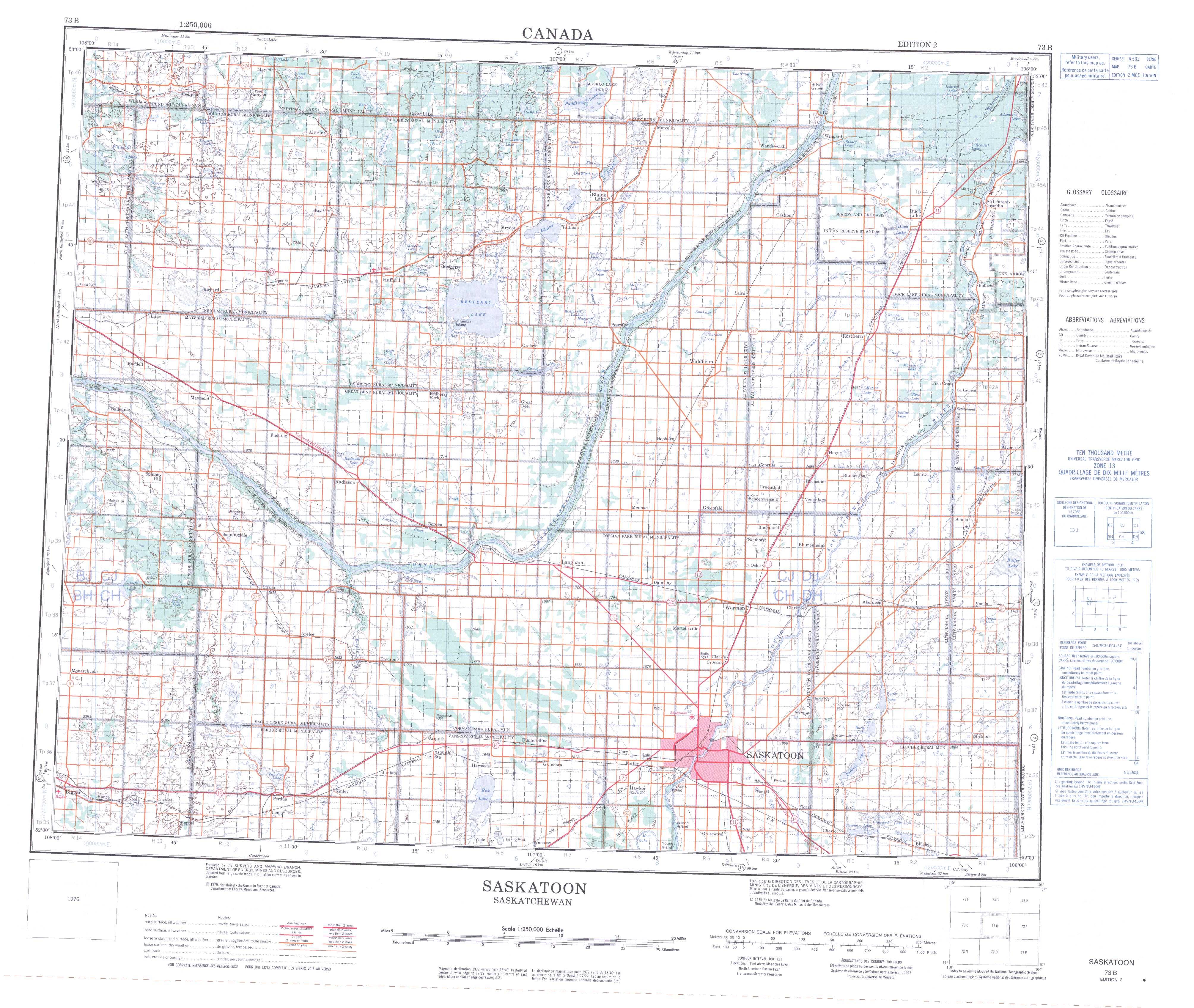 Printable Topographic Map Of Saskatoon 073b Sk