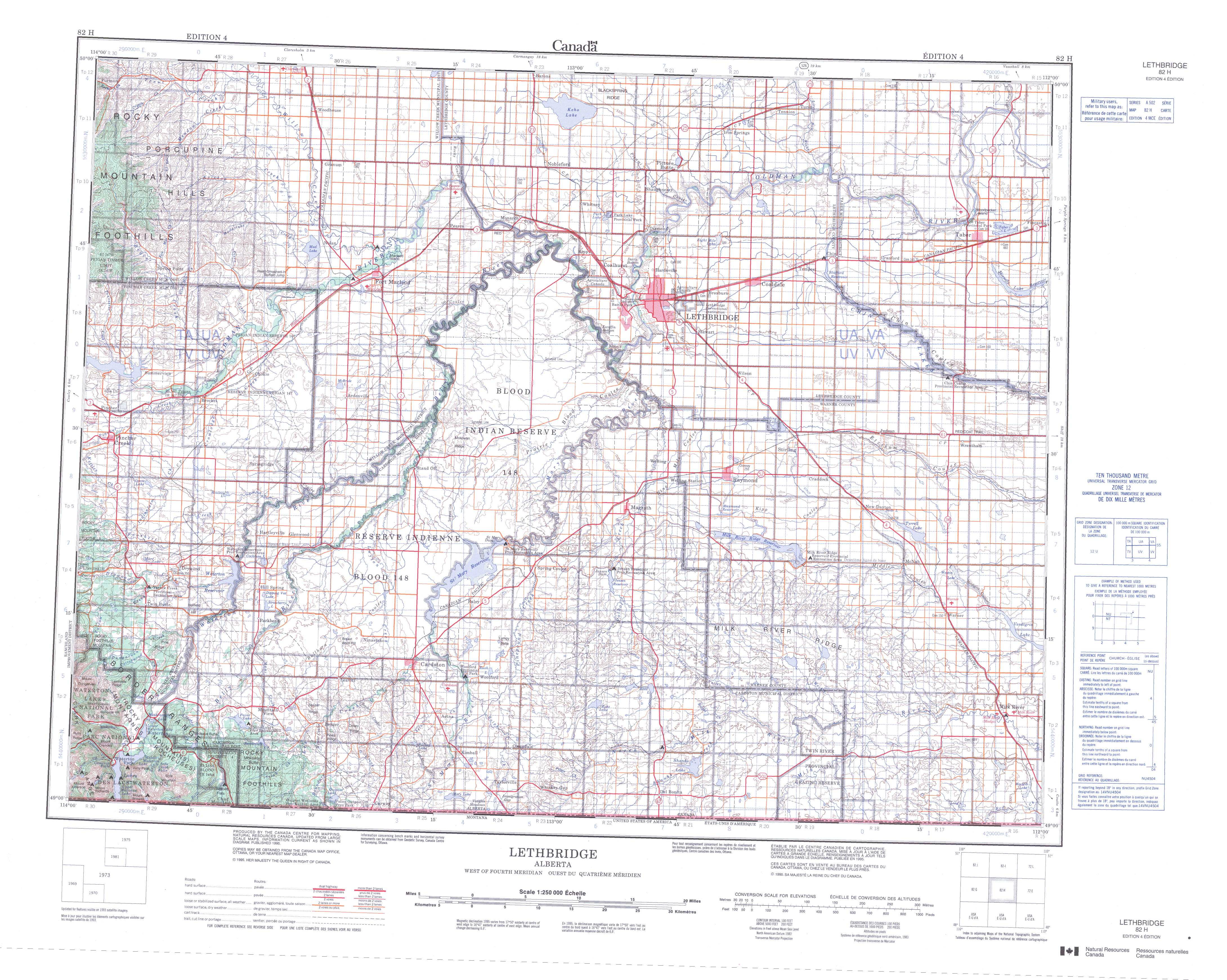 Printable Topographic Map of Lethbridge 082H AB
