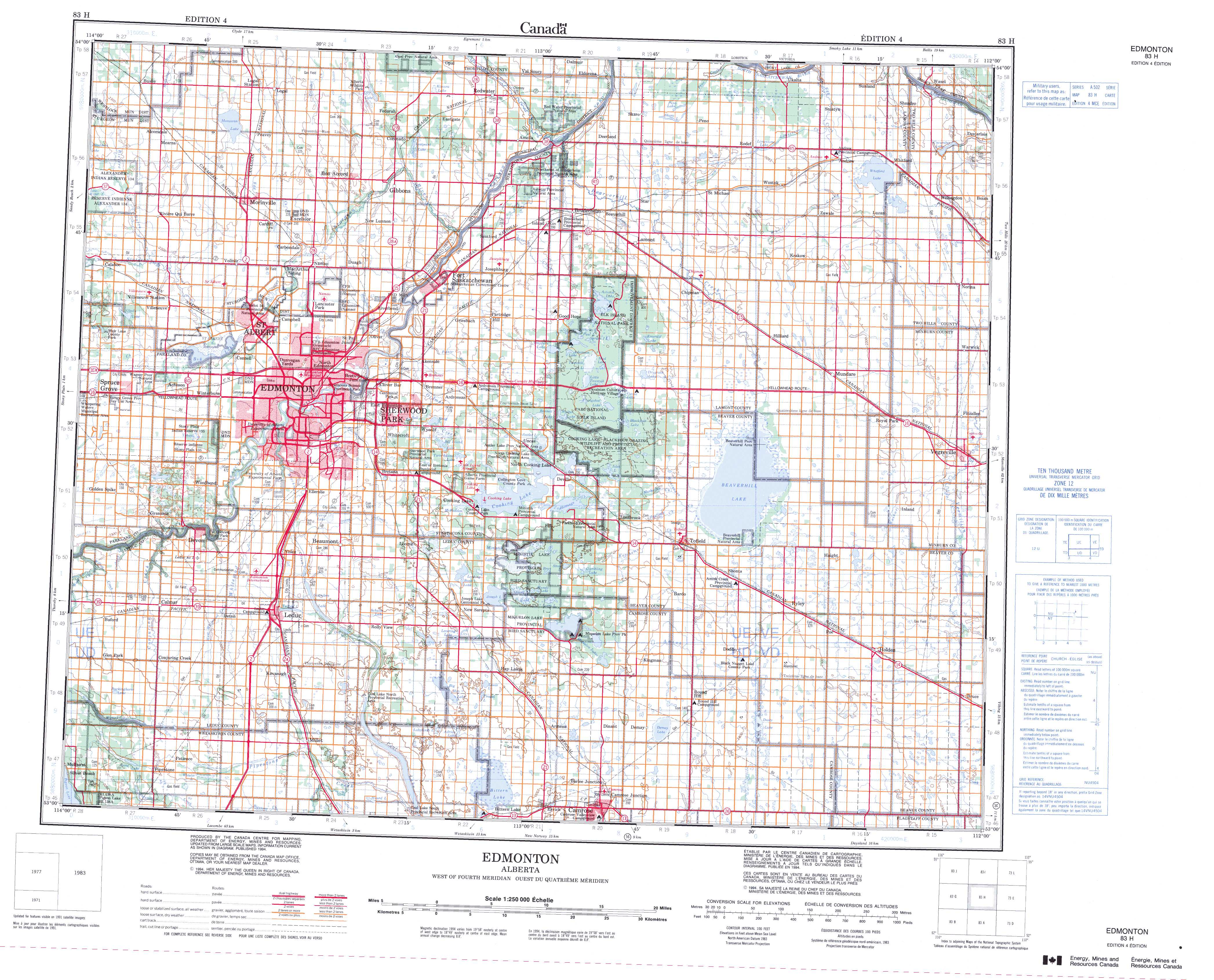 Map Of Edmonton Ab Printable Topographic Map of Edmonton 083H, AB Map Of Edmonton Ab