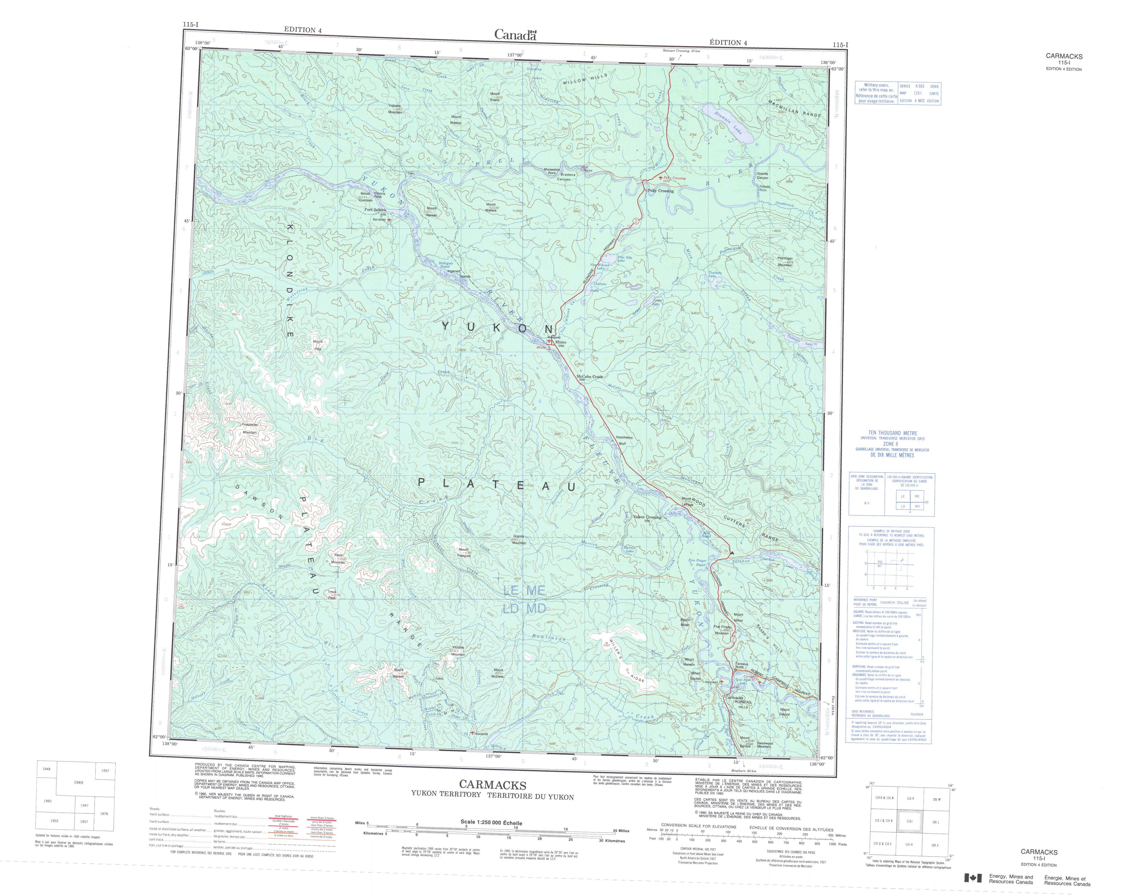 Printable Topographic Map of Carmacks 115I YK