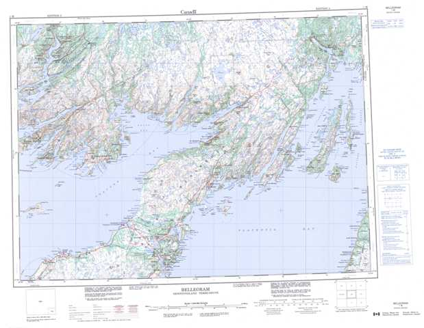 Printable Belleoram Topographic Map 001M at 1:250,000 scale