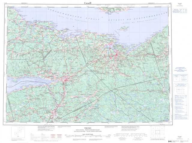 Printable Truro Topographic Map 011E at 1:250,000 scale