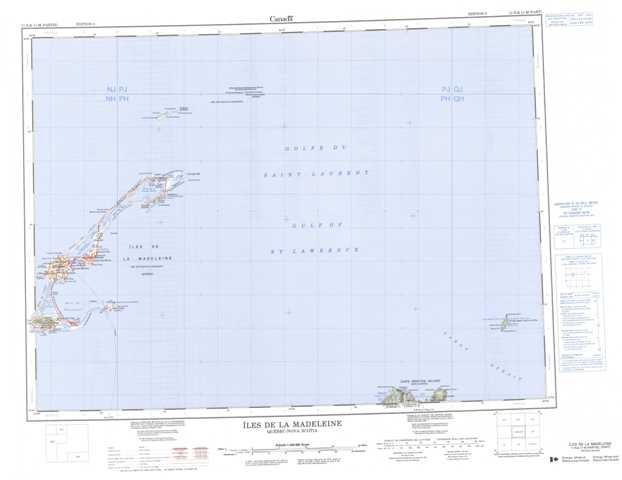 Printable Iles De La Madeleine Topographic Map 011N at 1:250,000 scale