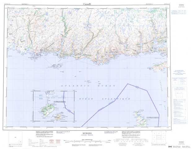 Printable Burgeo Topographic Map 011P at 1:250,000 scale
