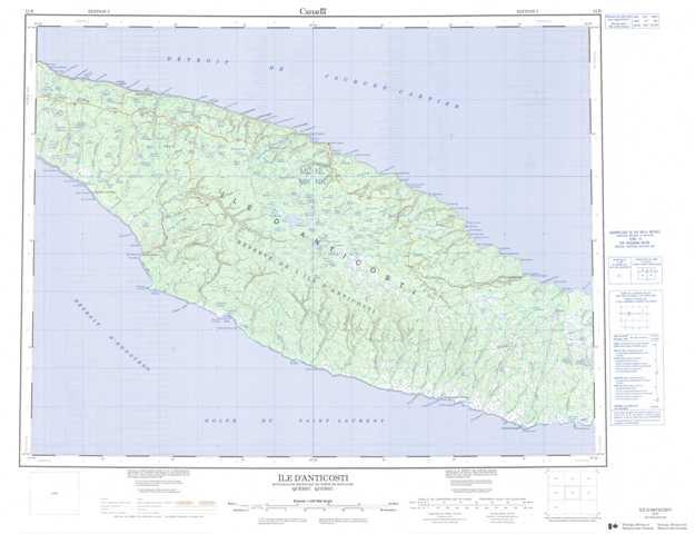 Printable Ile D'Anticosti Topographic Map 012E at 1:250,000 scale