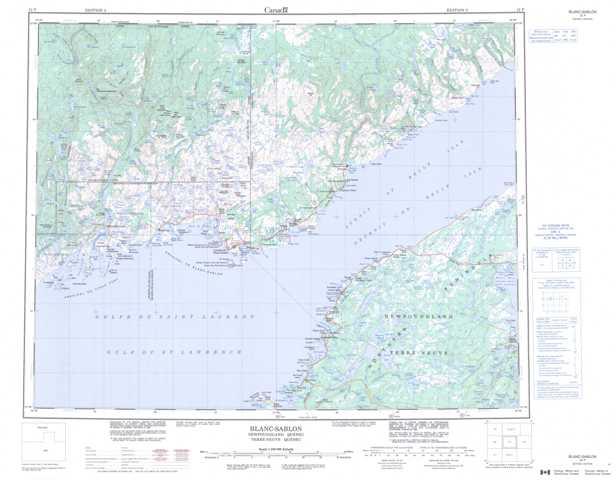 Printable Blanc-Sablon Topographic Map 012P at 1:250,000 scale
