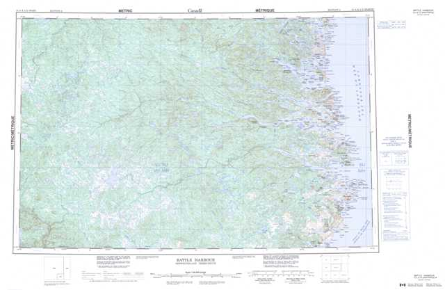 Printable Battle Harbour Topographic Map 013A at 1:250,000 scale