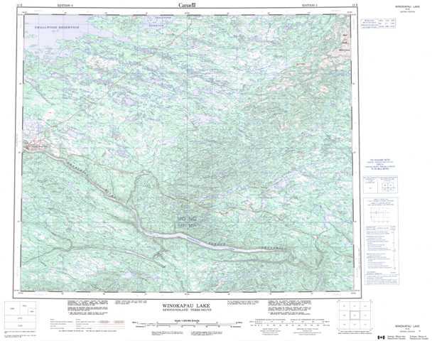 Printable Winokapau Lake Topographic Map 013E at 1:250,000 scale