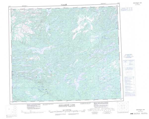 Printable Snegamook Lake Topographic Map 013K at 1:250,000 scale
