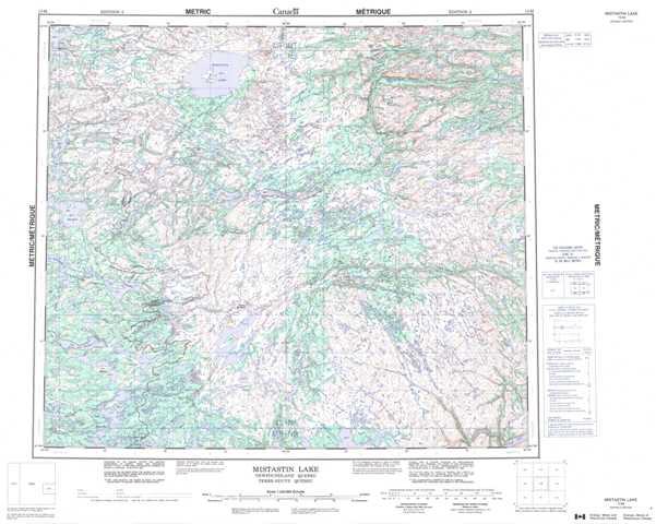 Printable Mistastin Lake Topographic Map 013M at 1:250,000 scale