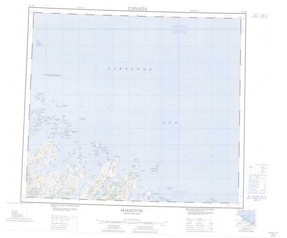 Printable Makkovik Topographic Map 013O at 1:250,000 scale