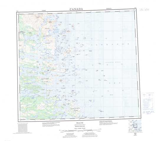 Printable Nain Topographic Map 014C at 1:250,000 scale