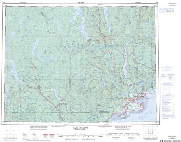 Printable Baie-Comeau Topographic Map 022F at 1:250,000 scale