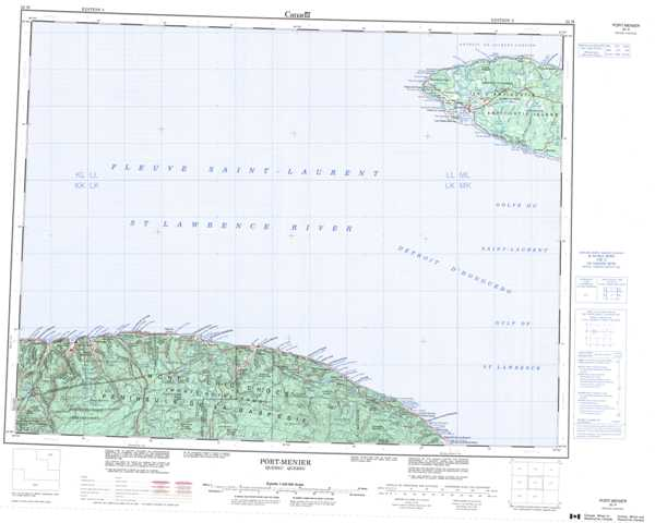Printable Port-Menier Topographic Map 022H at 1:250,000 scale