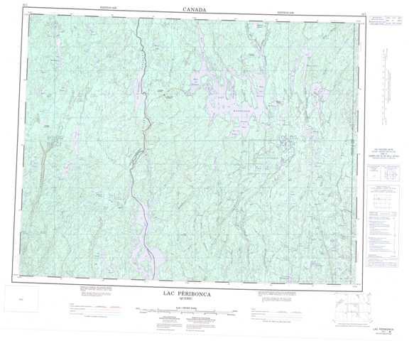 Printable Lac Peribonca Topographic Map 022L at 1:250,000 scale