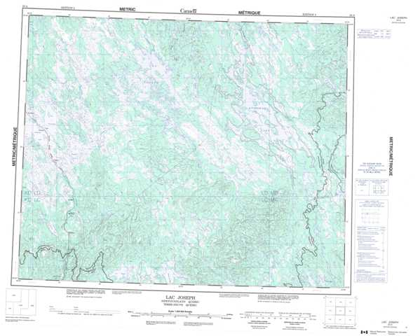 Printable Lac Joseph Topographic Map 023A at 1:250,000 scale