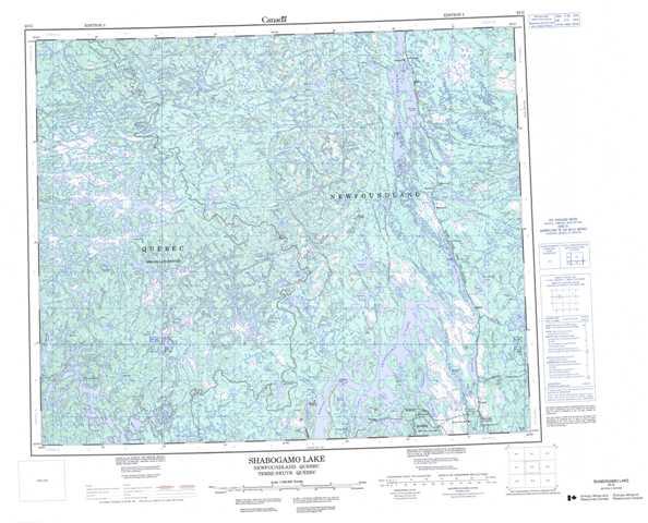 Printable Shabogamo Lake Topographic Map 023G at 1:250,000 scale