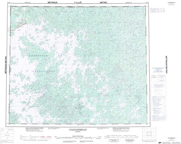 Printable Caniapiscau Topographic Map 023K at 1:250,000 scale