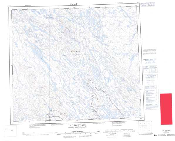 Printable Lac Wakuach Topographic Map 023O at 1:250,000 scale