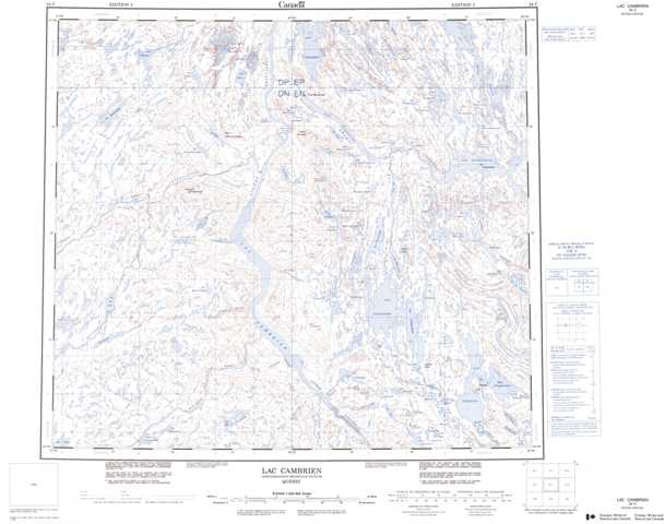 Printable Lac Cambrien Topographic Map 024C at 1:250,000 scale
