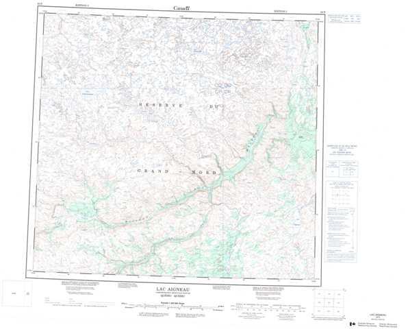Printable Lac Aigneau Topographic Map 024E at 1:250,000 scale