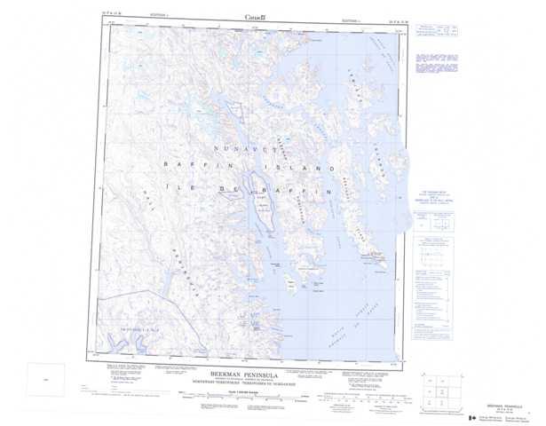 Printable Beekman Peninsula Topographic Map 025P at 1:250,000 scale