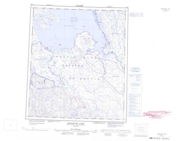 Printable Amadjuak Lake Topographic Map 026D at 1:250,000 scale