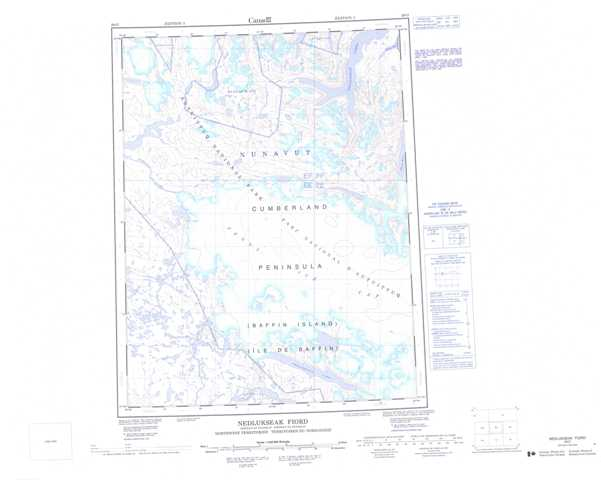 Printable Nedlukseak Fiord Topographic Map 026O at 1:250,000 scale