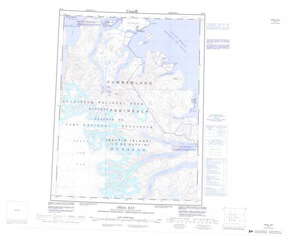 Printable Okoa Bay Topographic Map 026P at 1:250,000 scale