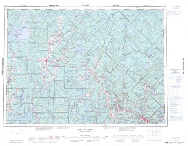 Printable Mont-Laurier Topographic Map 031J at 1:250,000 scale