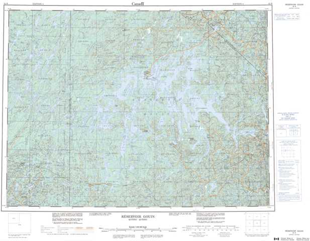 Printable Reservoir Gouin Topographic Map 032B at 1:250,000 scale