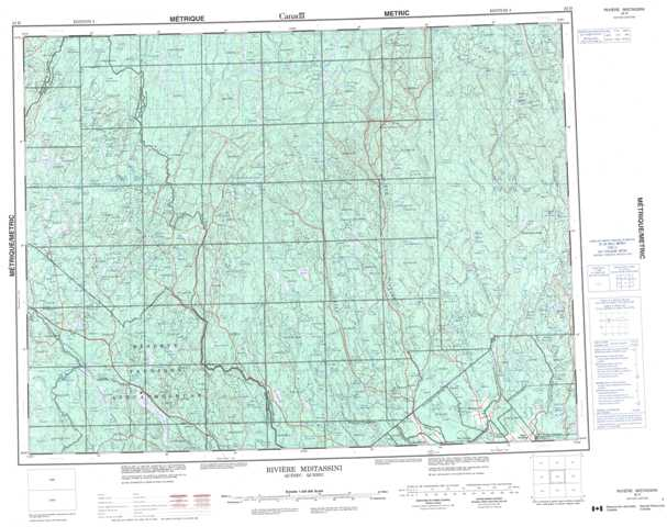 Riviere Mistassini Topographic Map that you can print: NTS 032H at 1:250,000 Scale
