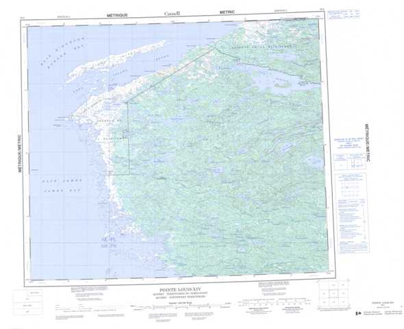 Printable Pointe Louis-Xiv Topographic Map 033L at 1:250,000 scale