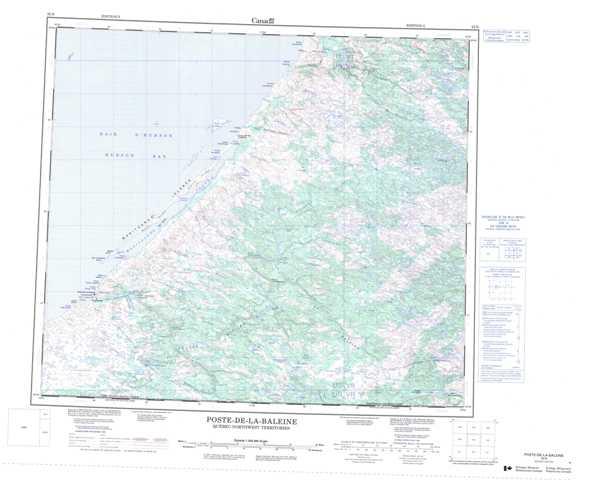 Printable Poste-De-La-Baleine Topographic Map 033N at 1:250,000 scale