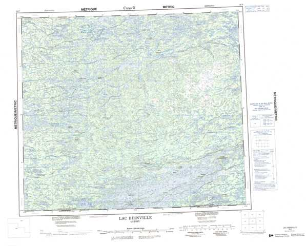 Printable Lac Bienville Topographic Map 033P at 1:250,000 scale