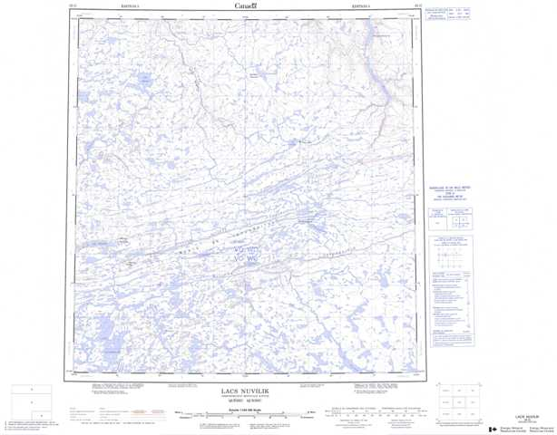 Printable Lacs Nuvilic Topographic Map 035G at 1:250,000 scale