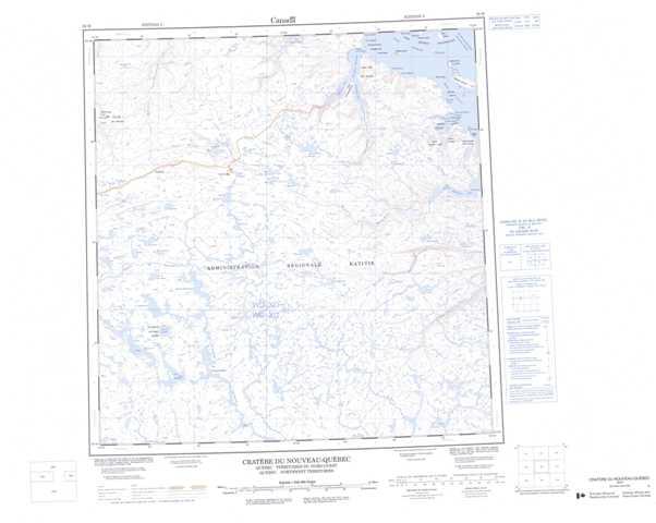 Printable Cratere Du Nouveau-Quebec Topographic Map 035H at 1:250,000 scale