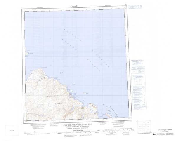 Printable Cap De Nouvelle-France Topographic Map 035I at 1:250,000 scale