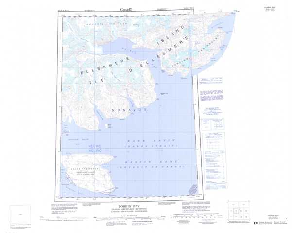 Printable Dobbin Bay Topographic Map 039H at 1:250,000 scale
