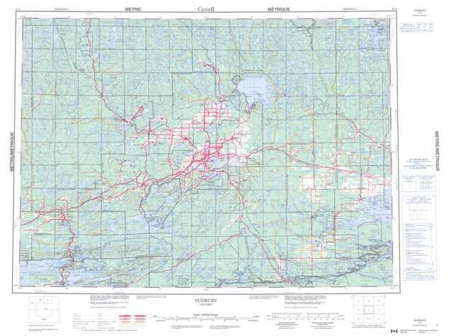 Printable Sudbury Topographic Map 041I at 1:250,000 scale