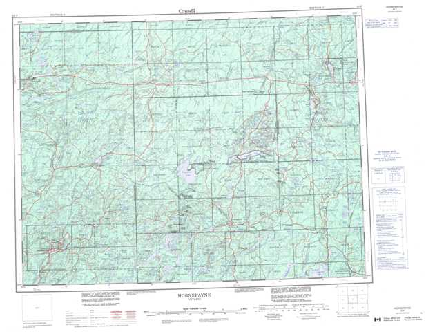 Printable Hornepayne Topographic Map 042F at 1:250,000 scale