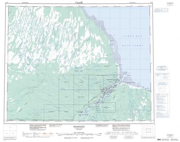 Printable Moosonee Topographic Map 042P at 1:250,000 scale
