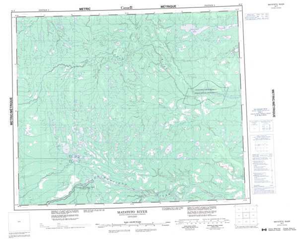 Printable Matateto River Topographic Map 043F at 1:250,000 scale