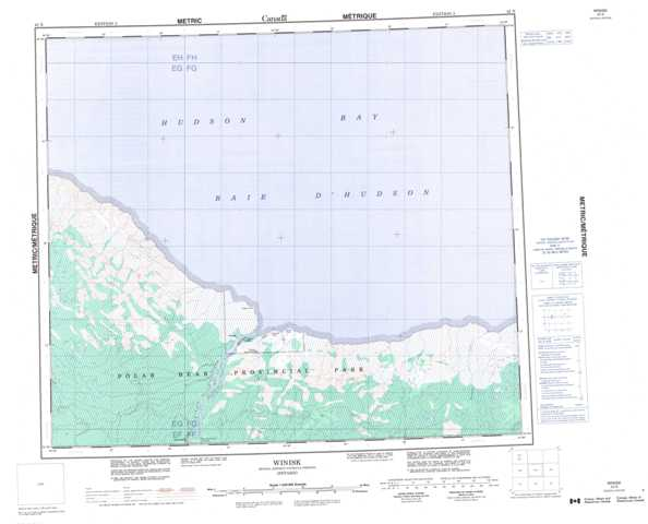 Printable Winisk Topographic Map 043N at 1:250,000 scale