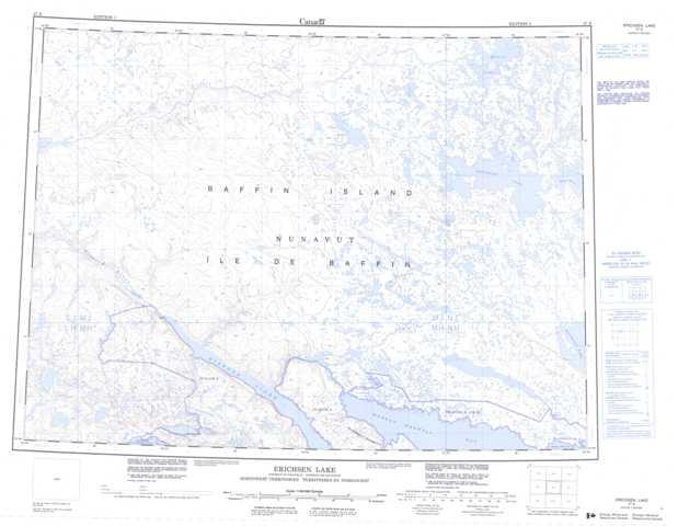 Printable Erichsen Lake Topographic Map 047E at 1:250,000 scale